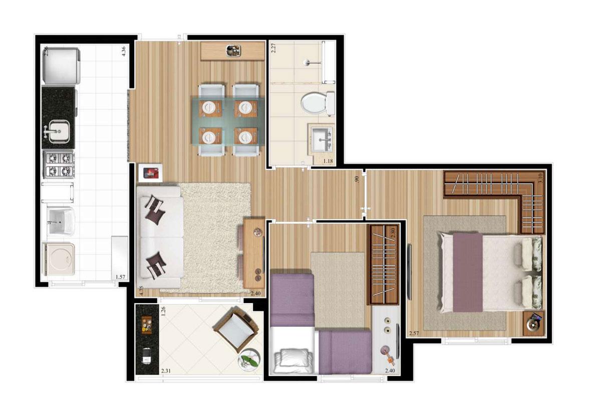 Planta 47m²  - 2 Dorms.