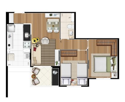 Planta 55m²  - 2 Dorms.
