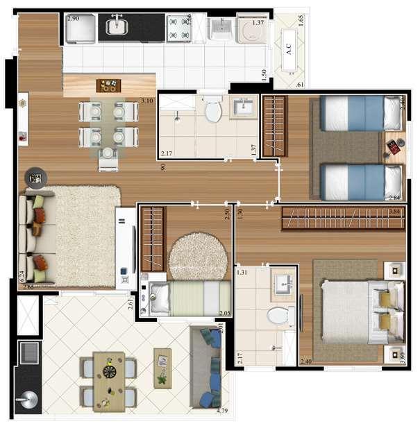 Planta 74m² - 3 Dorms. - 1 Suíte