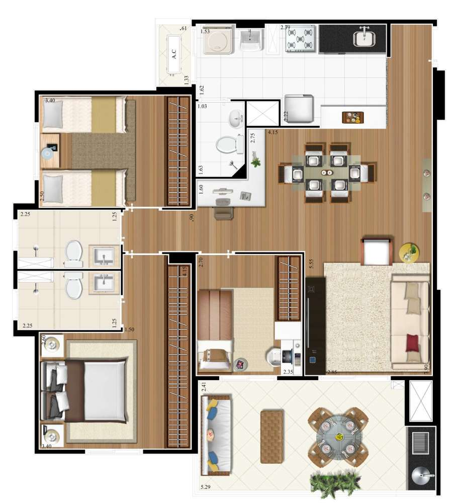Planta 91m²  - 3 Dorms. - 1 Suíte