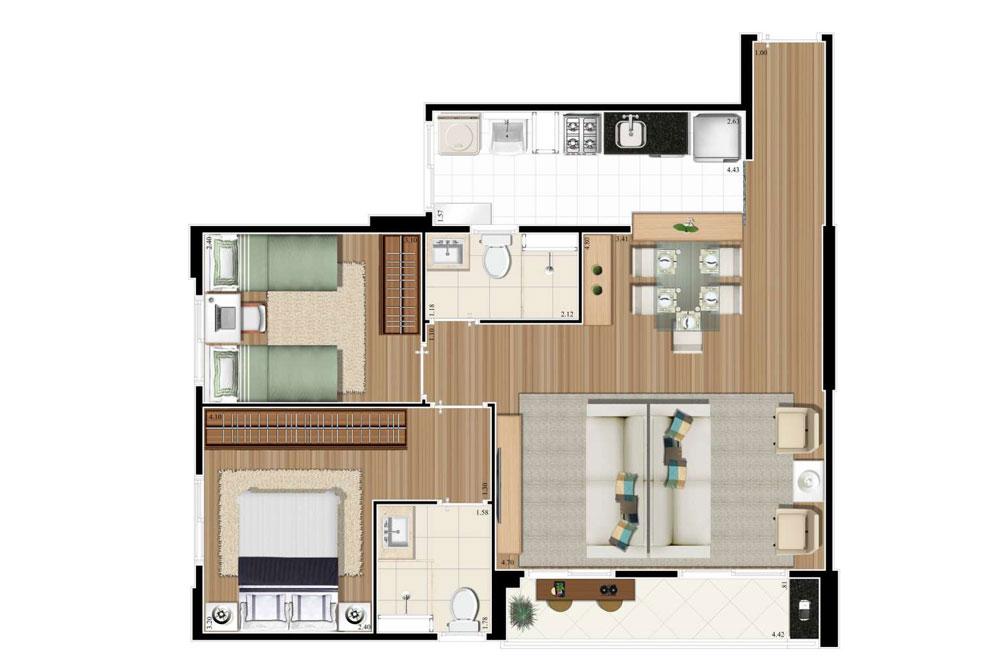 Planta 66m² - 3 Dorms. - Living Ampliado