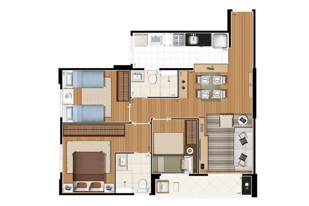 Planta 66m² - 3 Dorms. - 1 Suíte