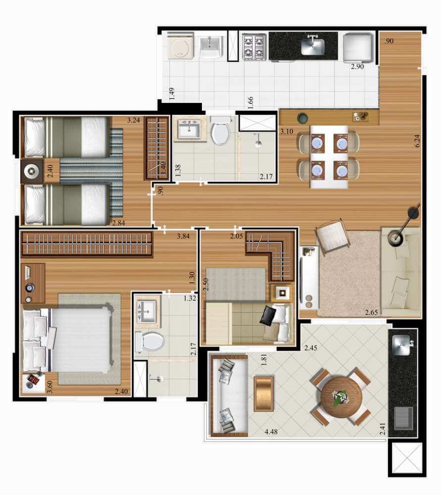 Planta 72m² - 2 Dorms. - 1 Suíte