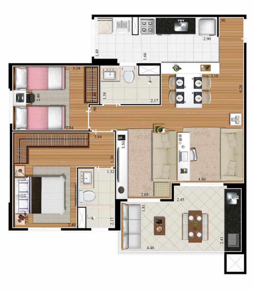Planta 72m² - 2 Dorms. - Living Ampliado