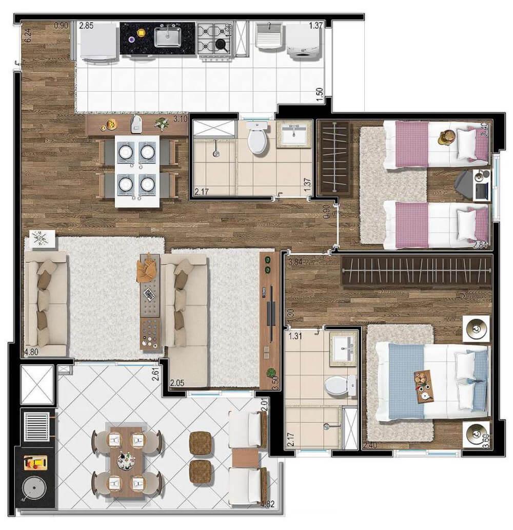 Planta 73m² - 2 Dorms. - Living Ampliado