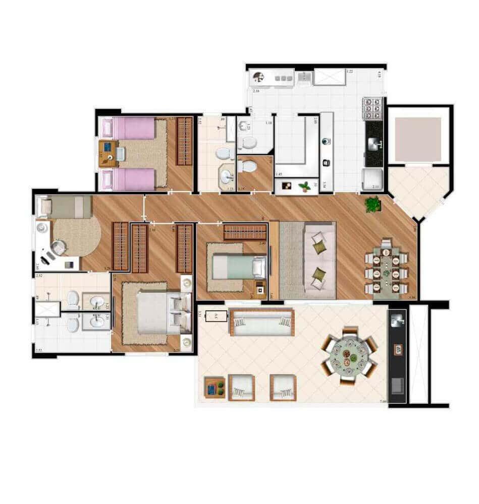 Planta 122m² - 4 Dorms - 2 suítes