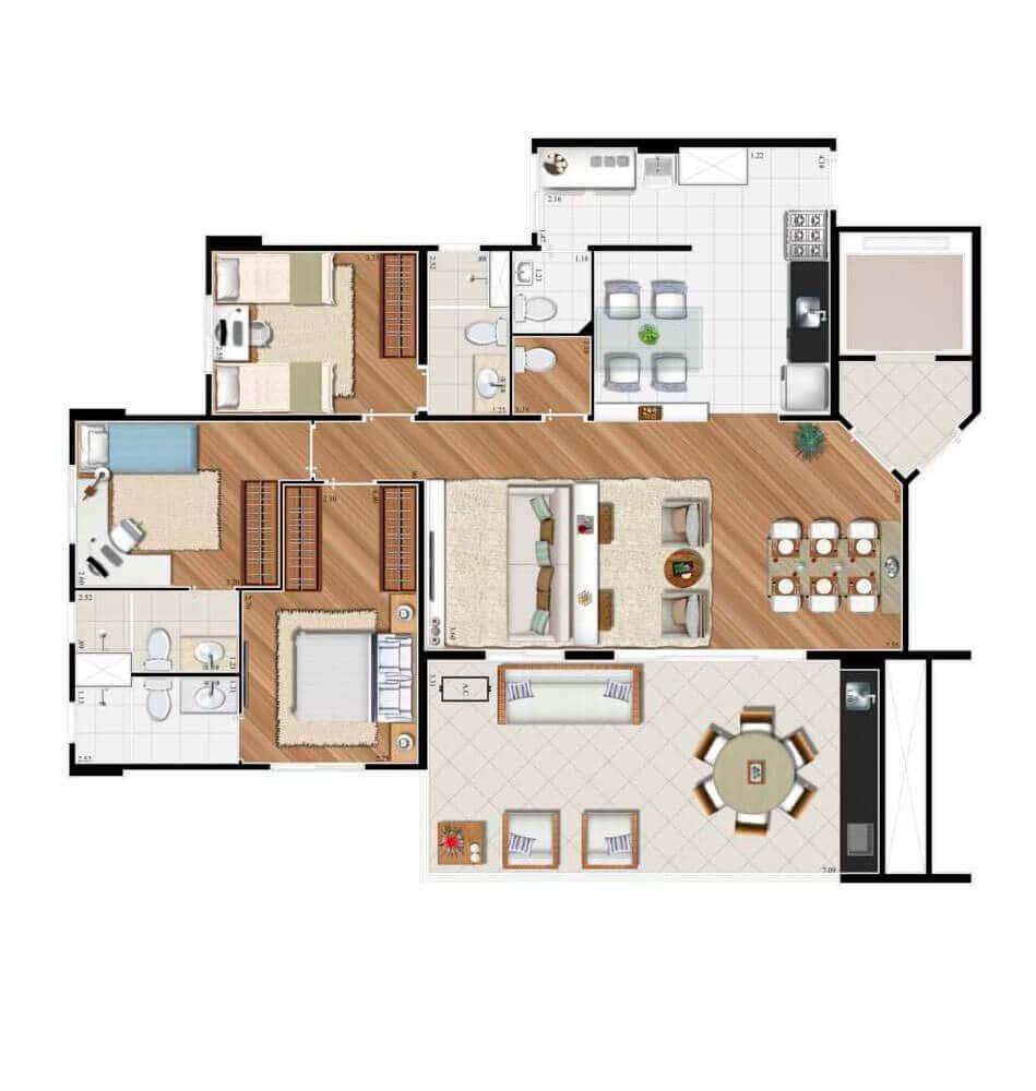 Planta 122m² - 4 Dorms - 3 suítes