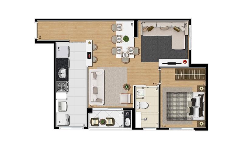 Planta 47m² - 2 Dorms .