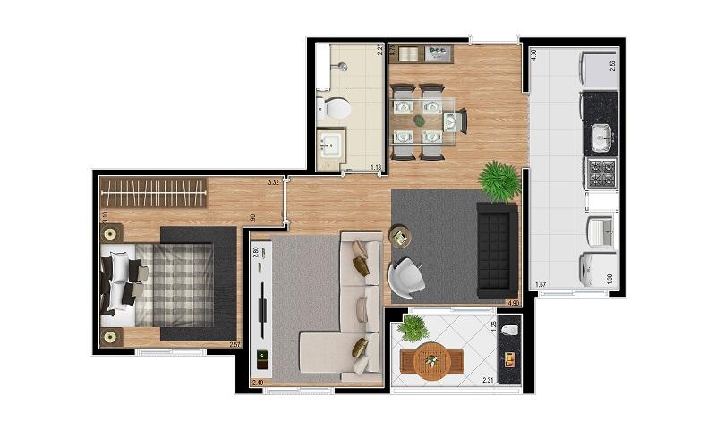 Planta 47m² - 2 Dorms. - Living Ampliado