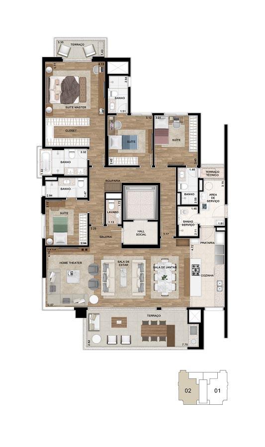 Planta 200m² - 4 Suítes - Cozinha Aberta