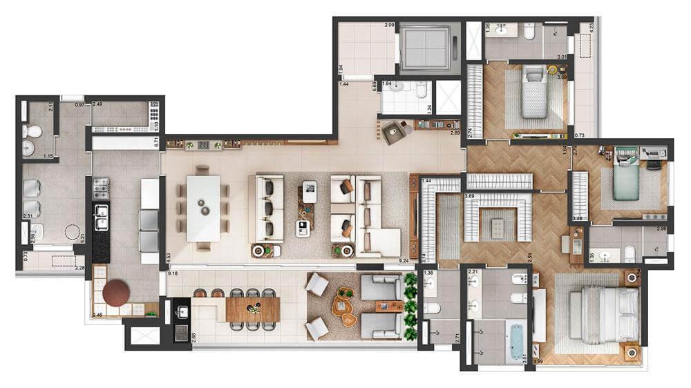 Planta 228m² - 03 Suítes - Living Ampliado