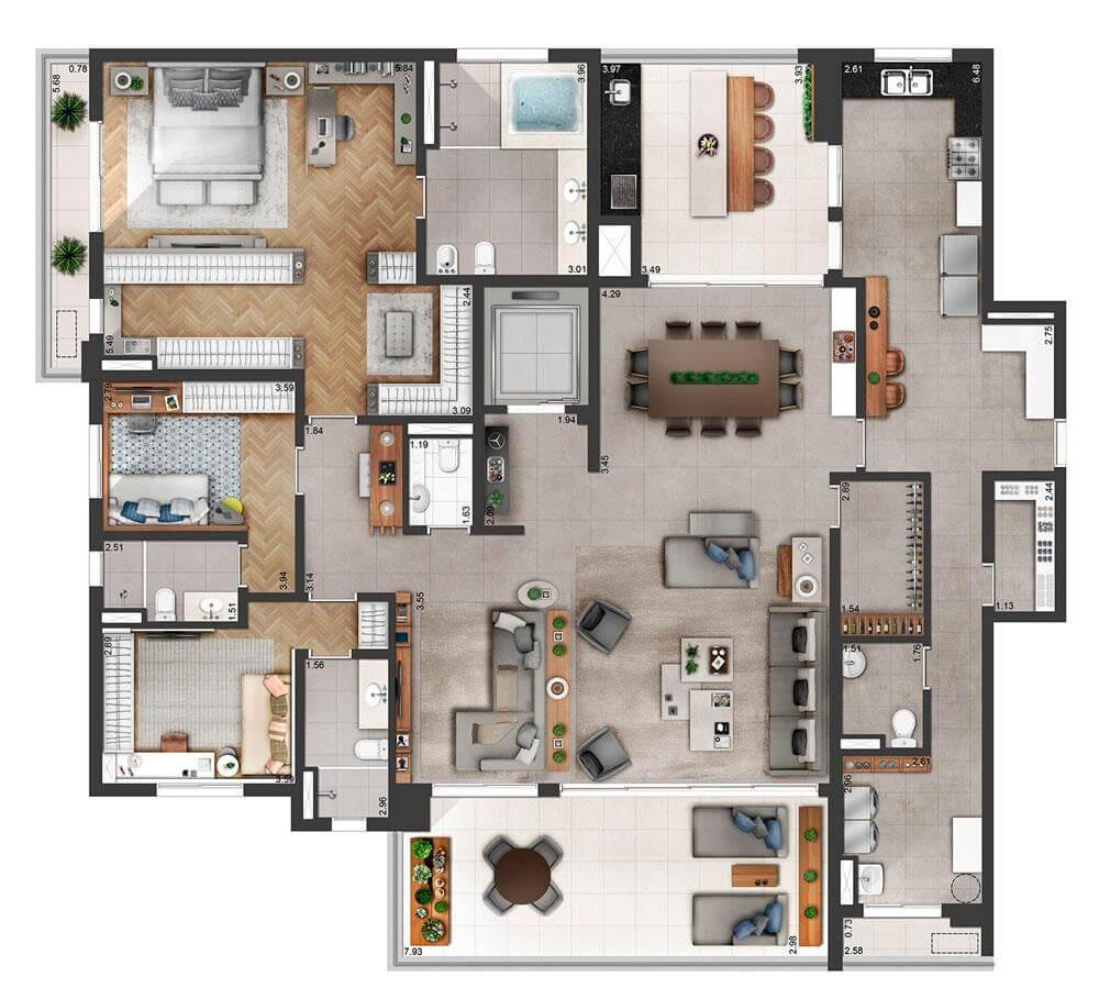Planta 285m² - 3 Suítes - Living Ampliado