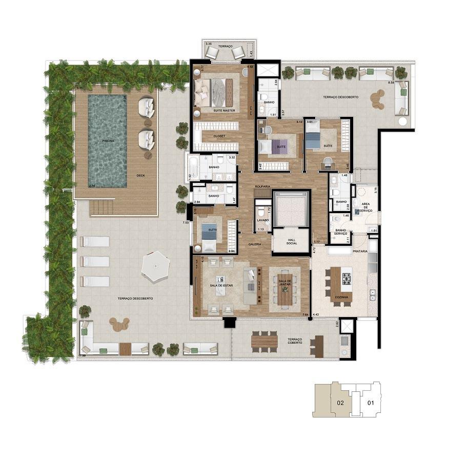 Planta 425m² - 4 Suítes - Garden