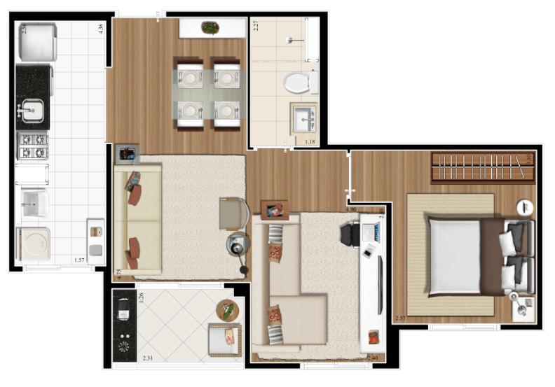 Planta 47m² - 1 Dorm. - Living Ampliado