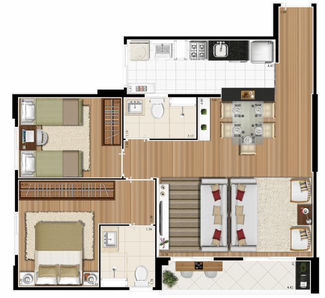 Planta 66m² - 2 Dorms. - Living Ampliado