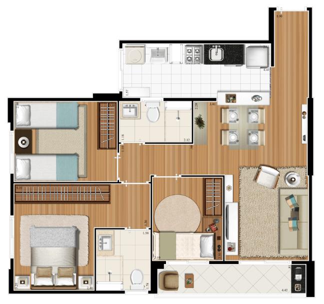 Planta 66m² - 3 Dorms.
