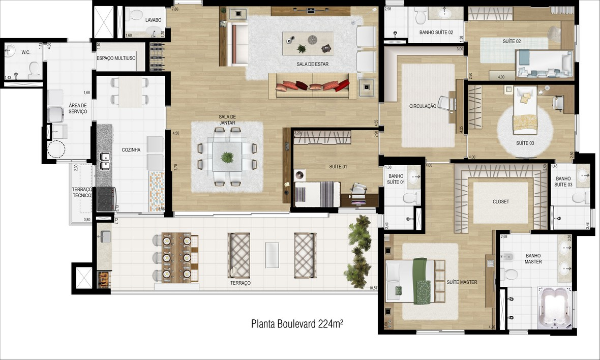 Planta 224m² - Living Ampliado