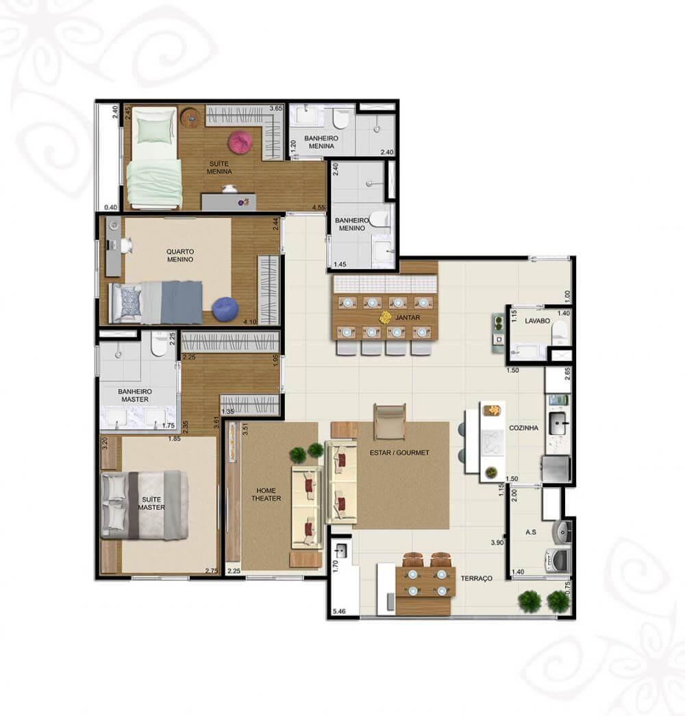 Planta 110m² - 3 Dorms. - Sala Ampliada