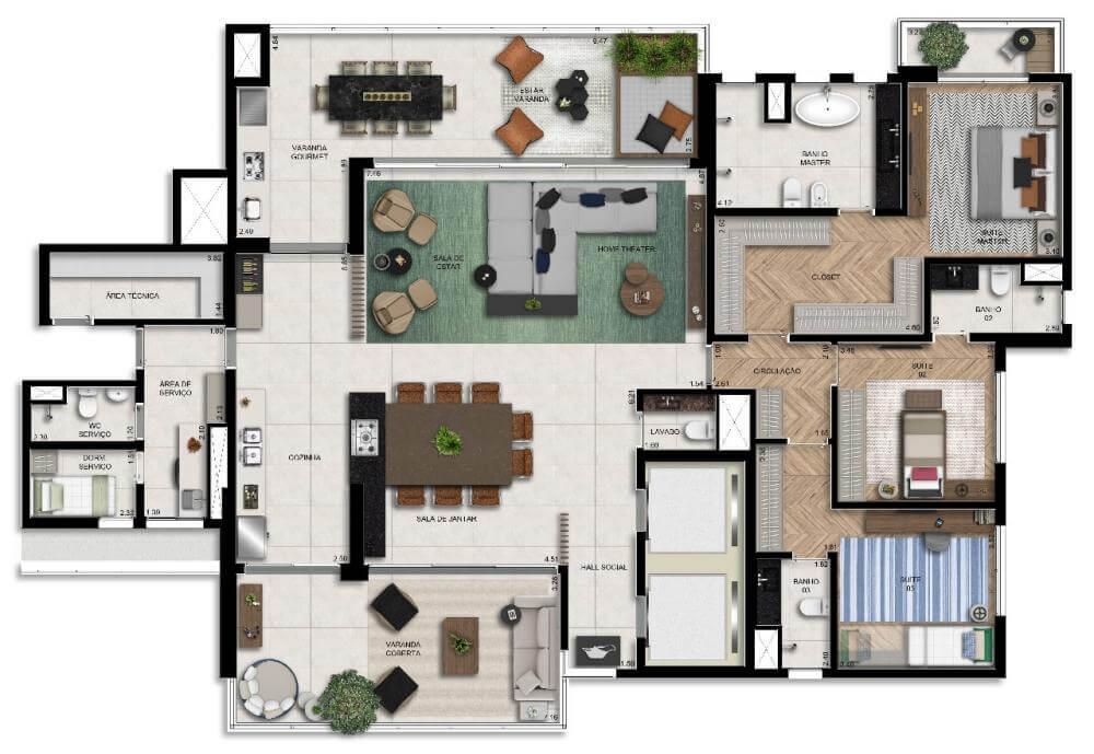 Planta 282m² - Living Ampliado com Banheiro Senhor e Senhora