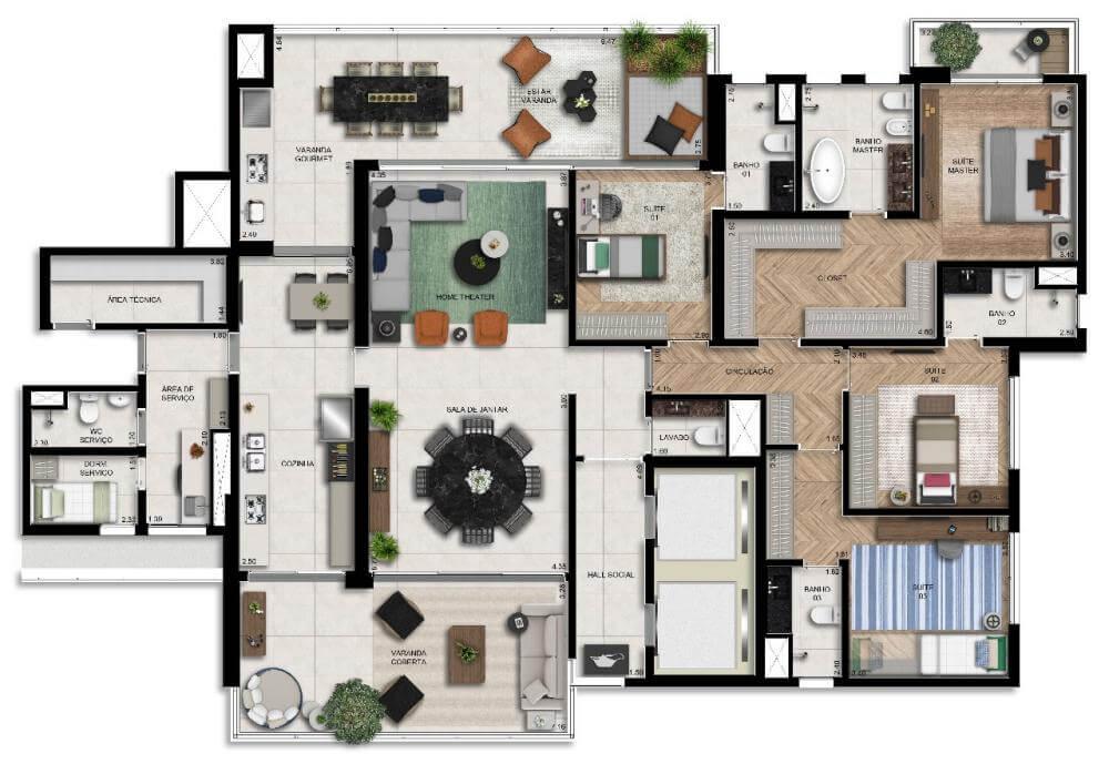 Planta 282m² - Living Ampliado com Sala de Banho