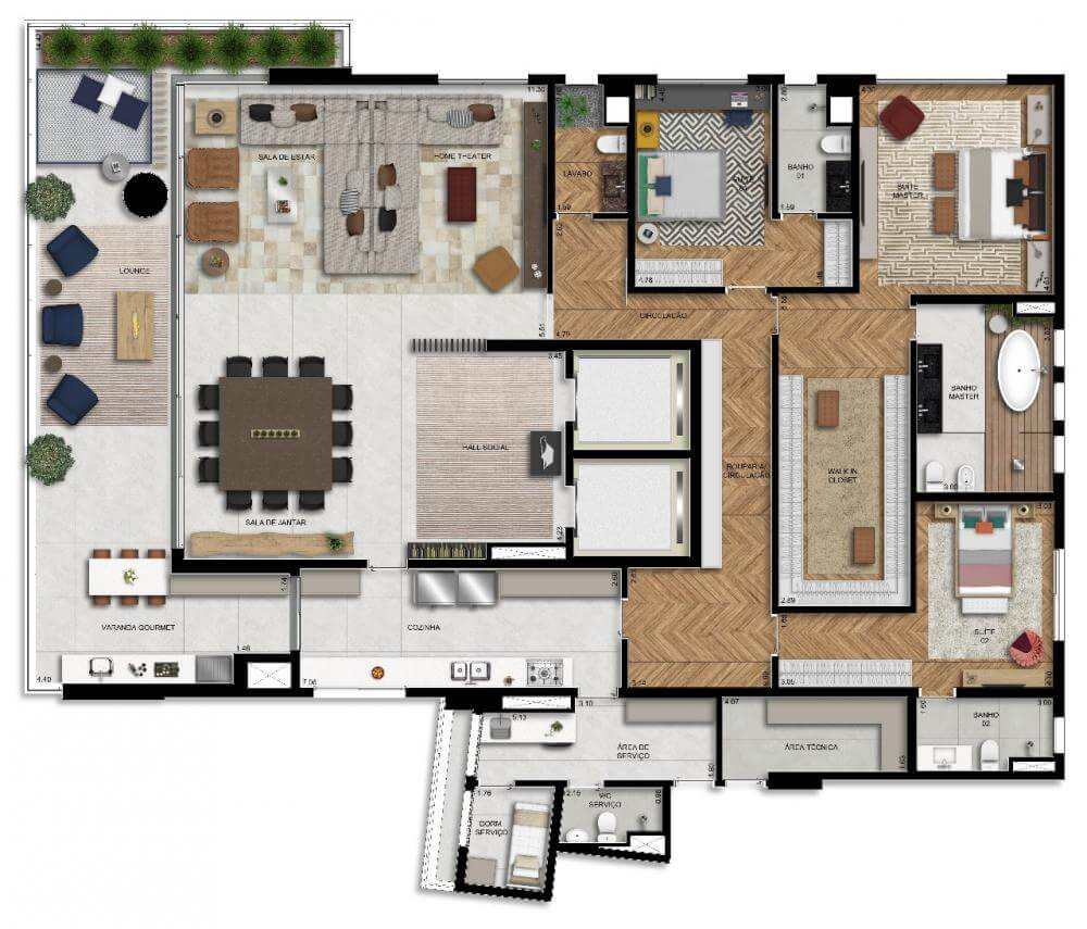 Planta 344m² - Living Ampliado com Banheiro Senhor e Senhora