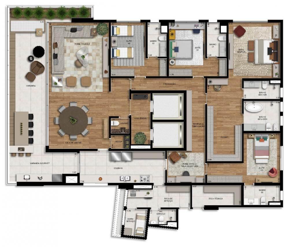 Planta 344m² - Living Ampliado com Sala de Banho