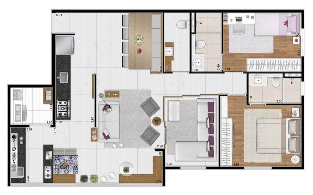 Planta 90m² - 3 Dorms. - Sala Ampliada