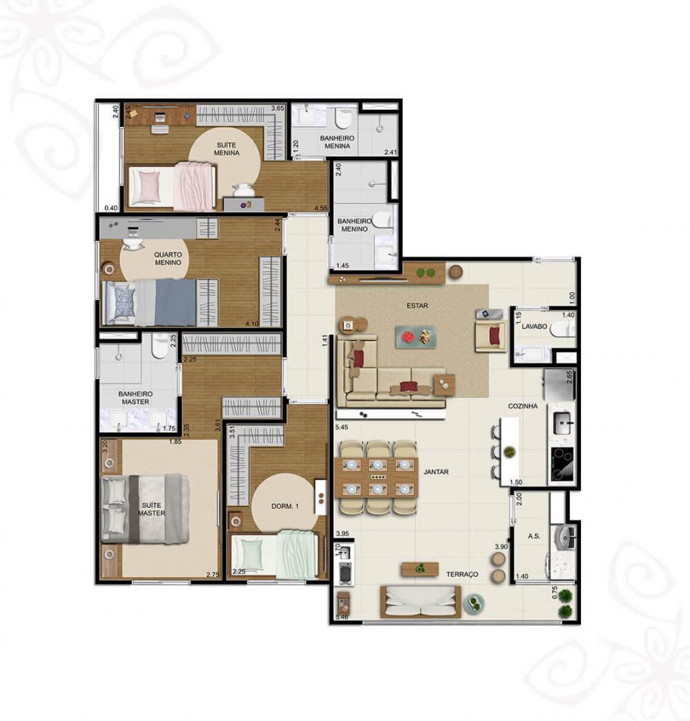 Planta 110m² - 4 Dorms.