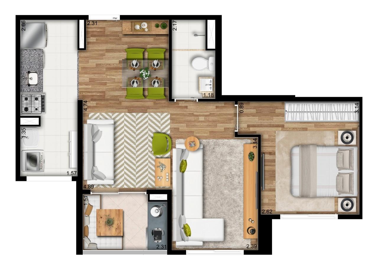 49m² - 2 Dorms. - Living Ampliado