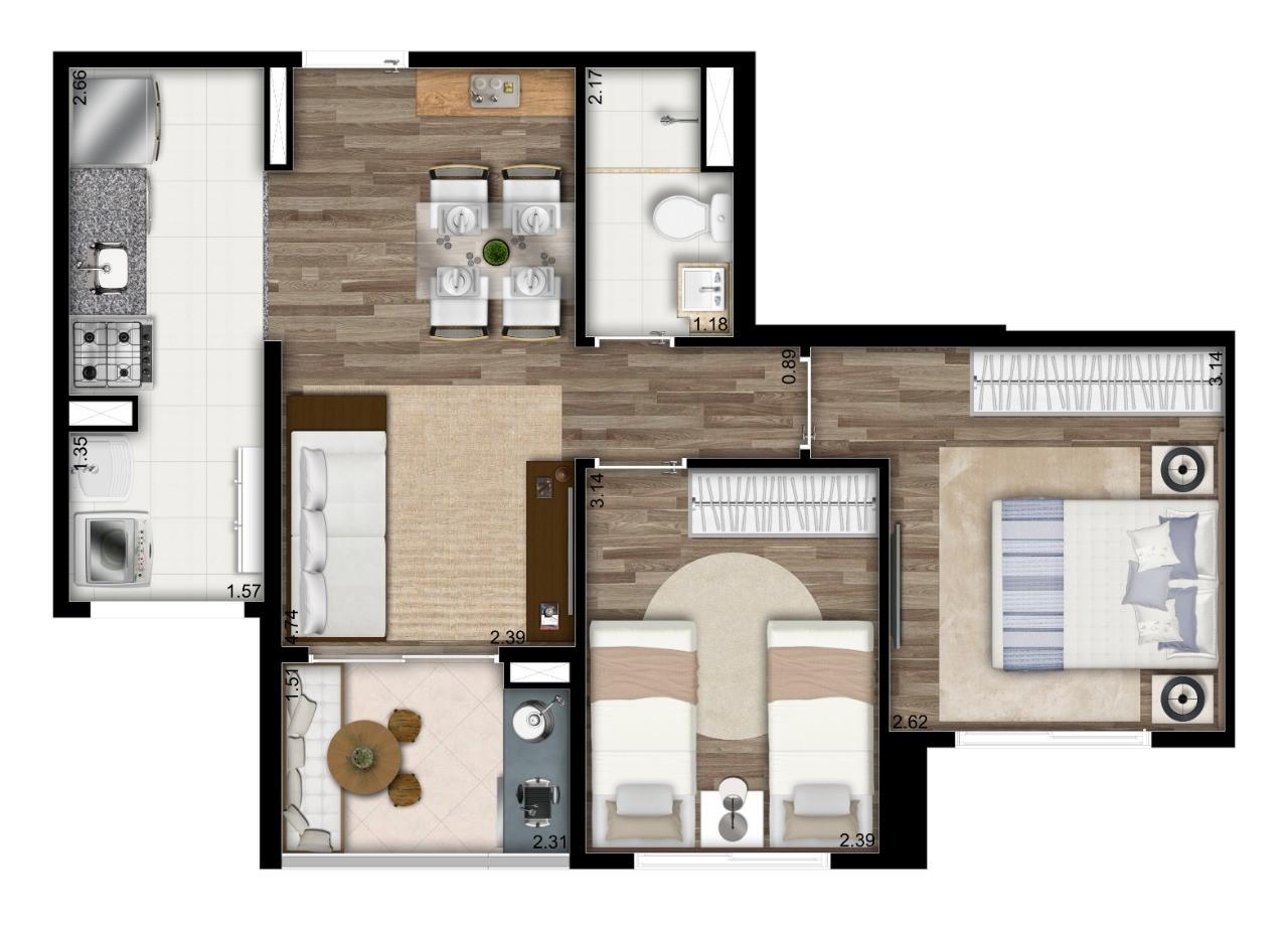 Planta 49m² - 2 Dorms.
