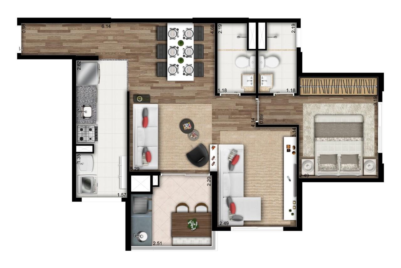 Planta 59m² - 2 Dorms. - Living Ampliado