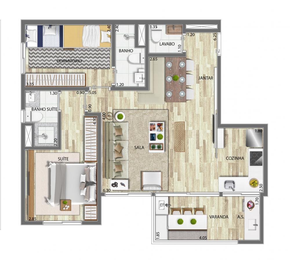 Planta 69m²  - Living Ampliado