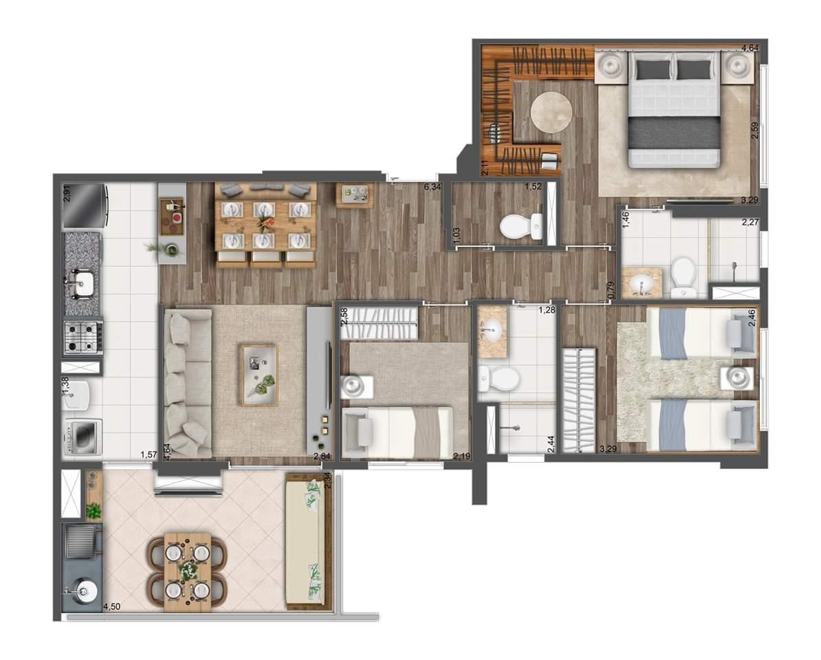Planta 81m² - 3 Dorms. - 1 Suíte