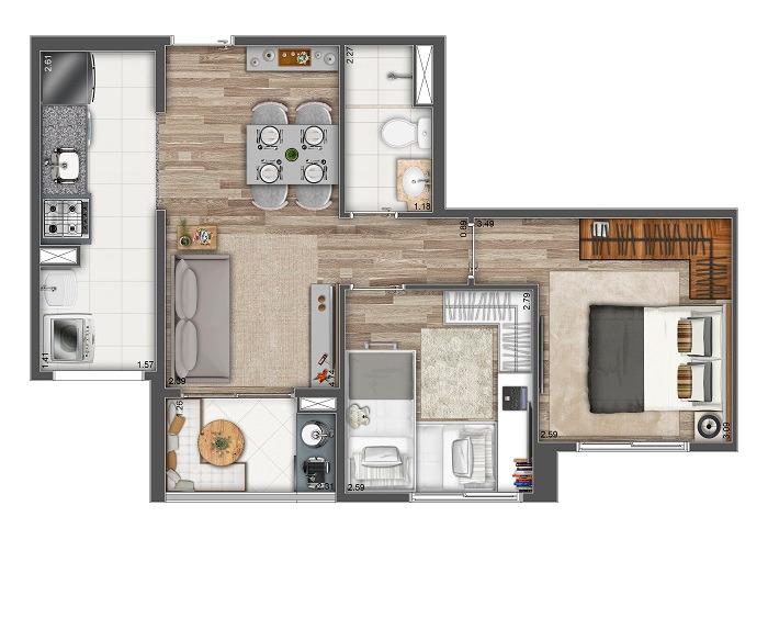 Planta 48m²  - 2 Dorms.