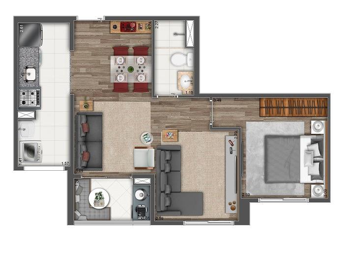 Planta 48m²  - 2 Dorms. - Sala Ampliada