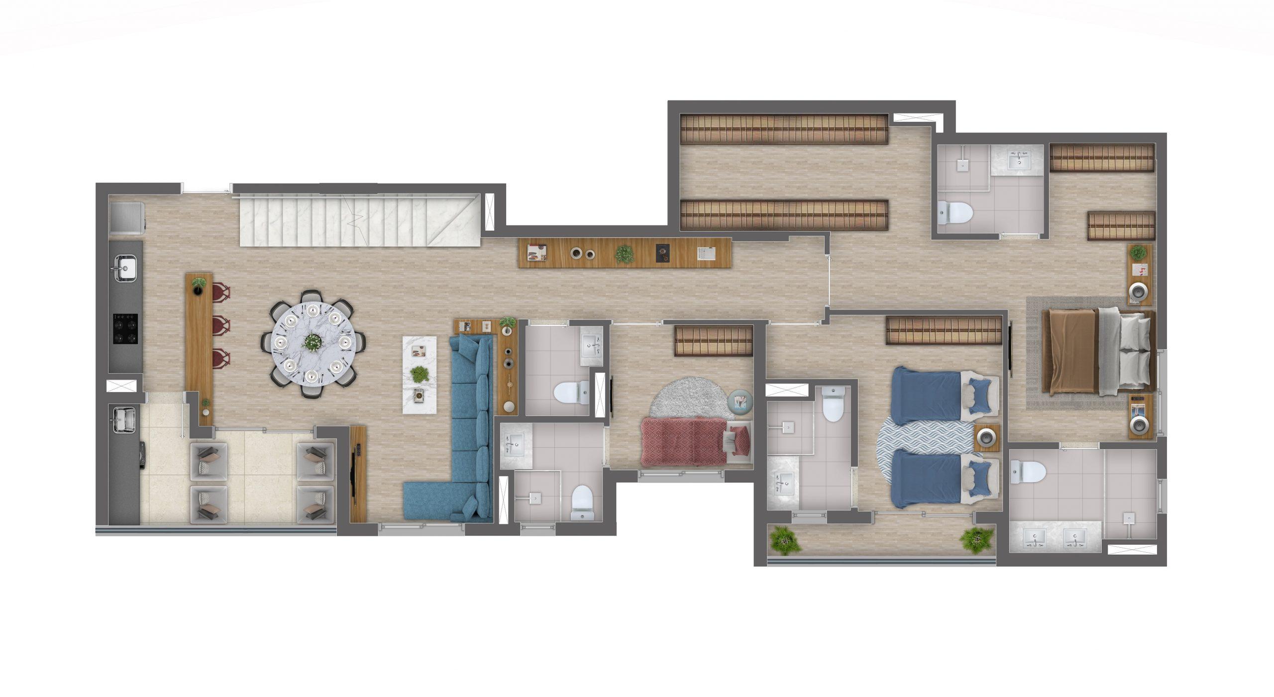 Cobertura - 230m² - 3 Suítes - Piso Inferior