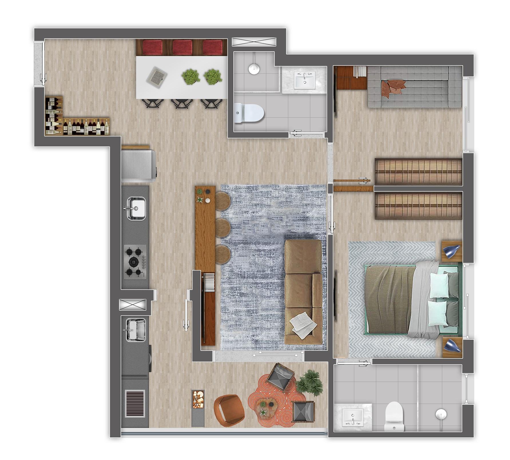 Planta 57m² - 2 Dorms.