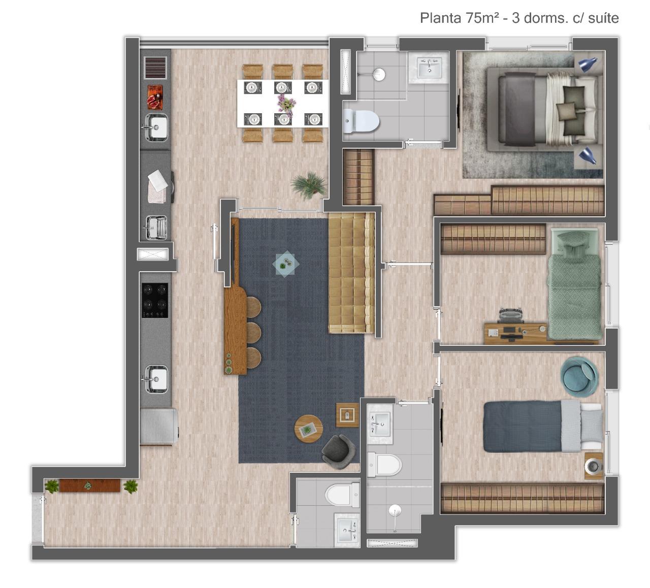 Planta 75m² - 3 Dorms.
