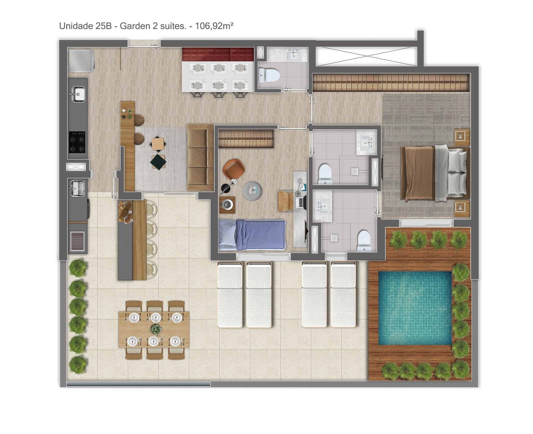 Garden - 106m² - 2 Suítes