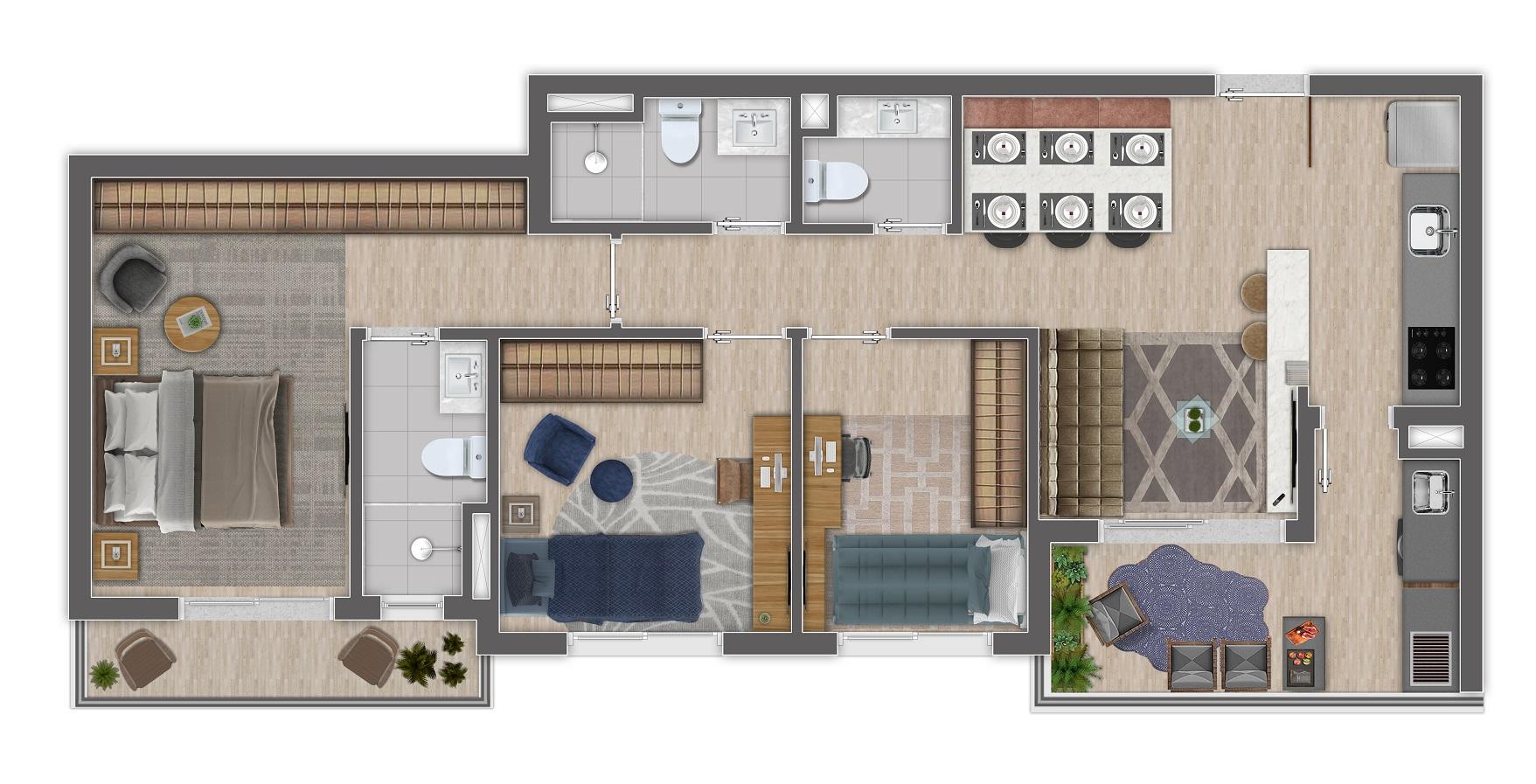 Planta 76m² - 3 Dorms.