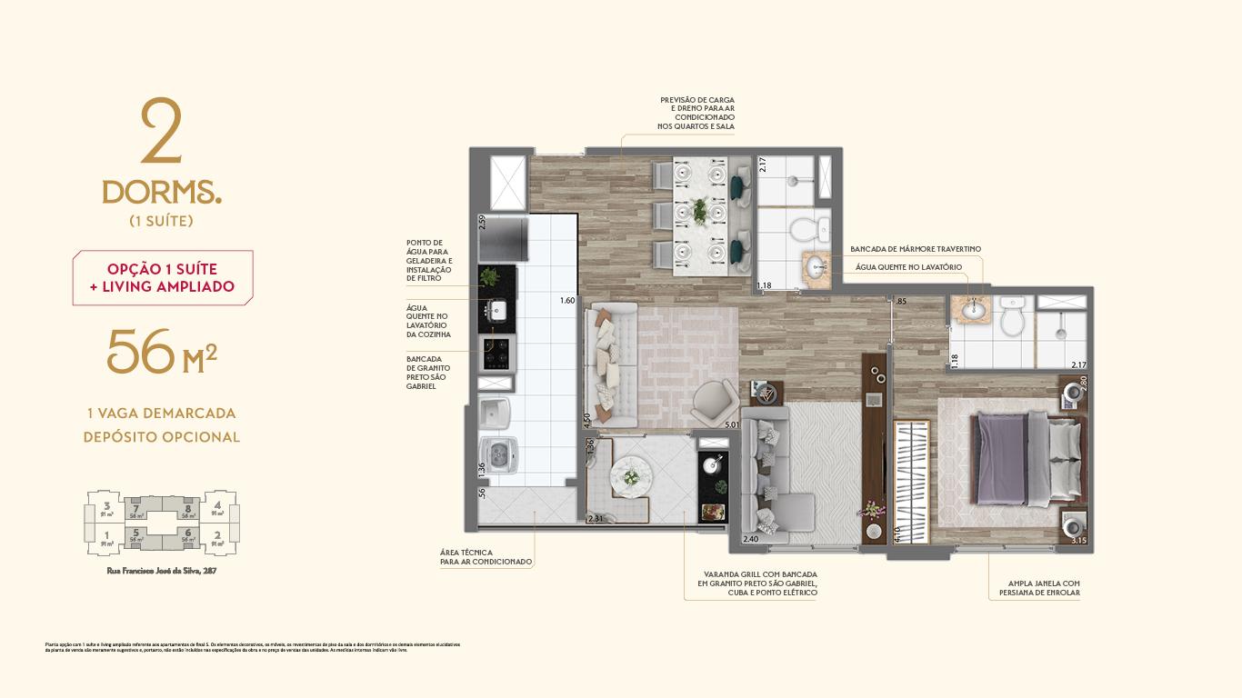 Planta 56m² - 2 Dorms. - Living Ampliado