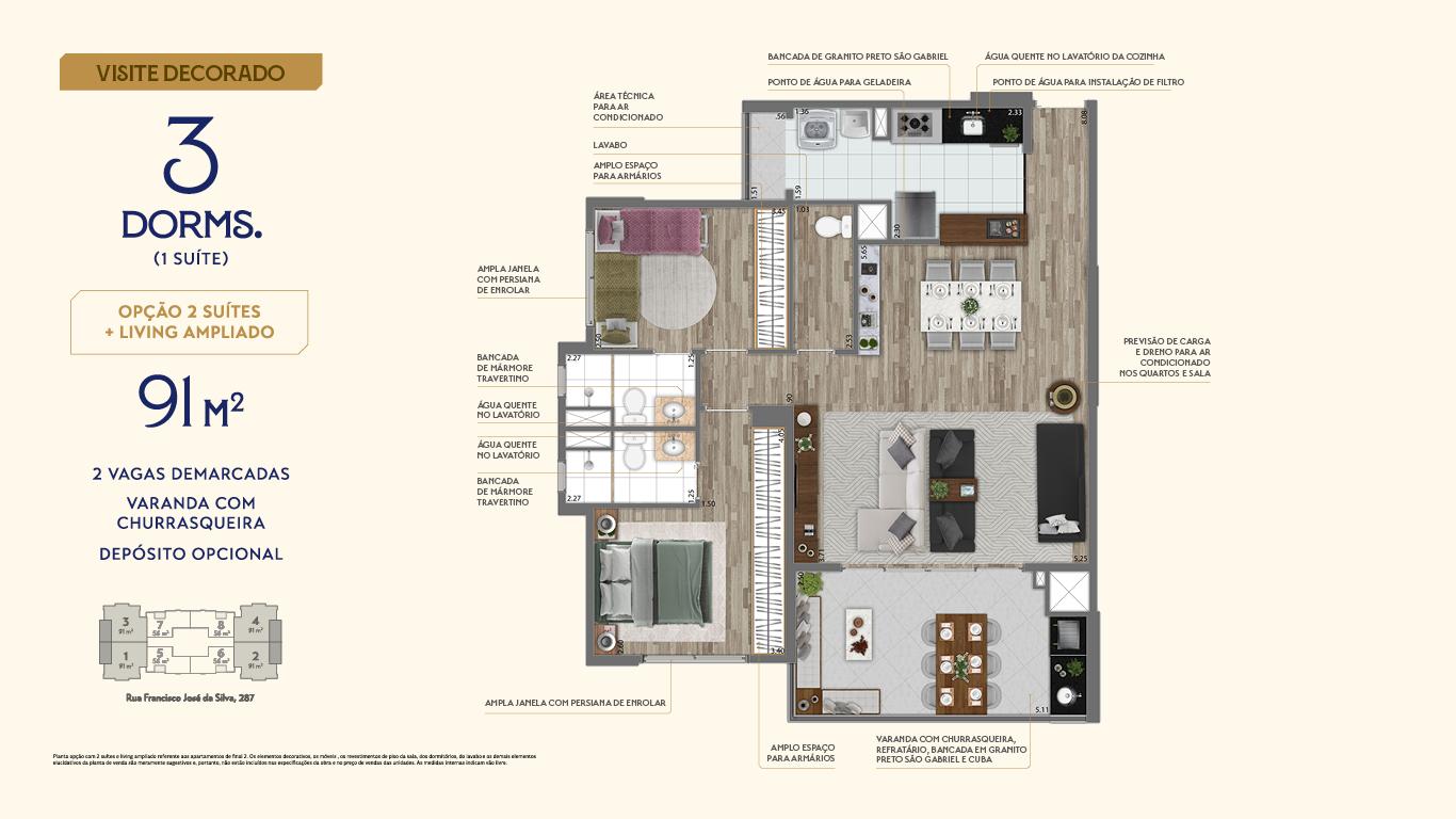 Planta 91m² - 3 Dorms. - Living Ampliado