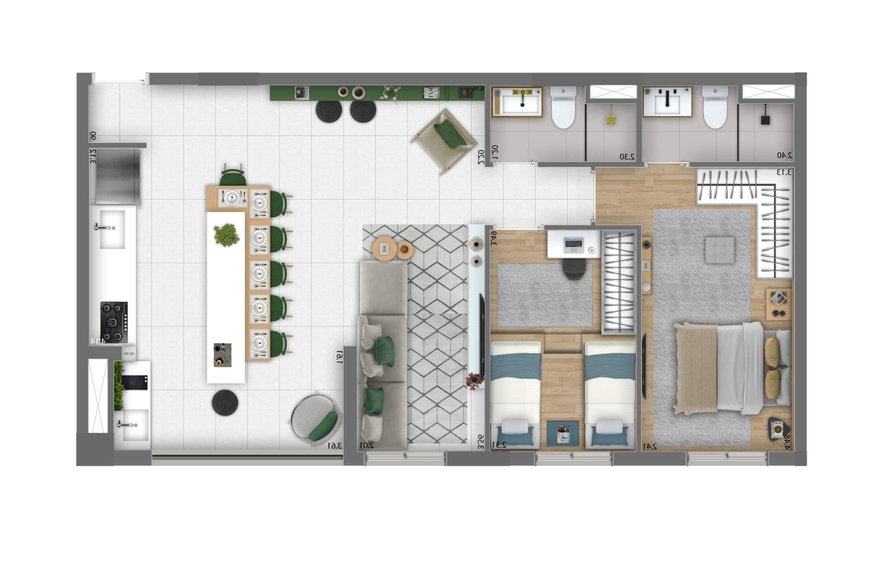 Planta 69m² - 2 Dorms. - Living Ampliado