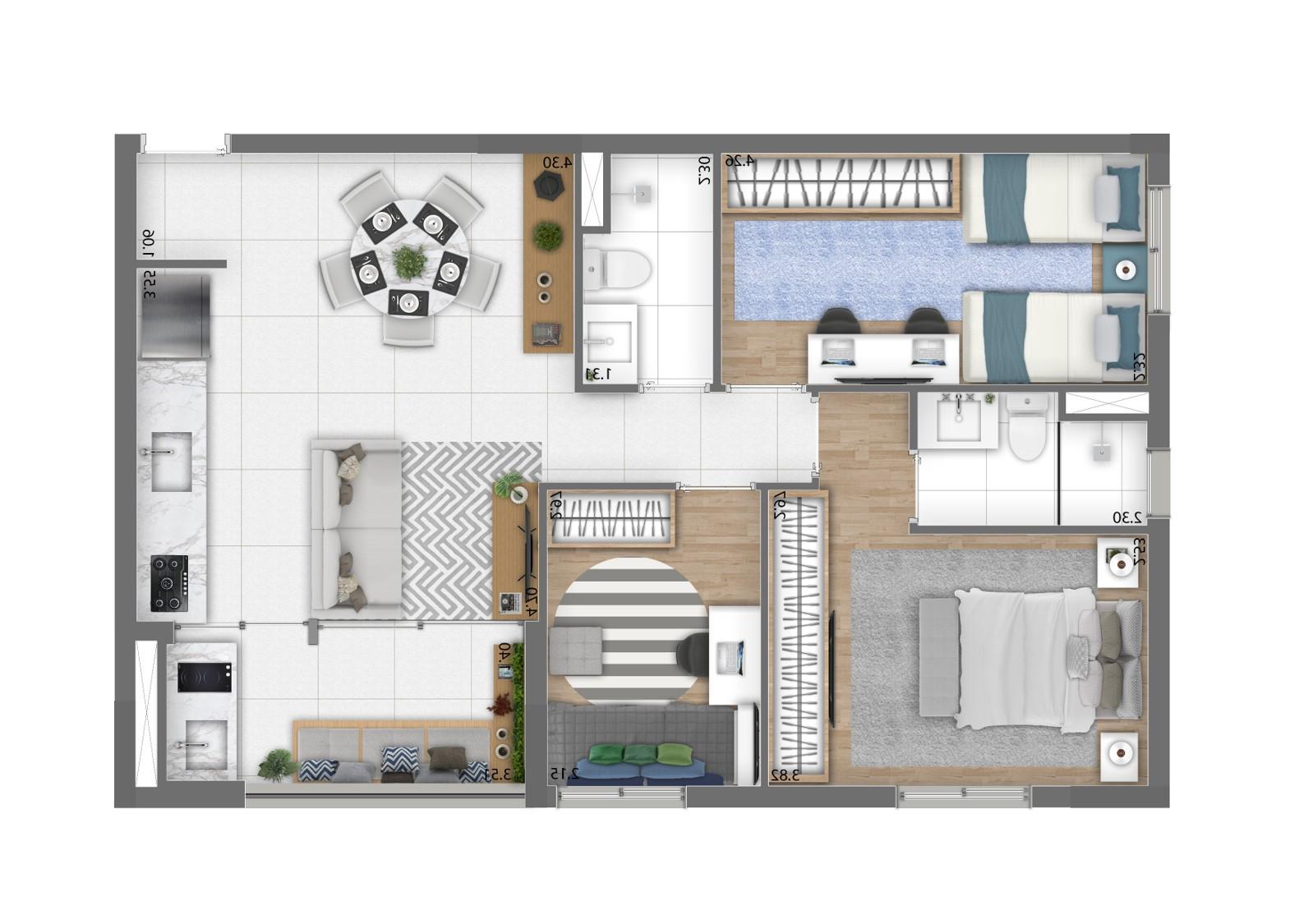Planta 70m² - 3 Dorms. (1 Suíte)