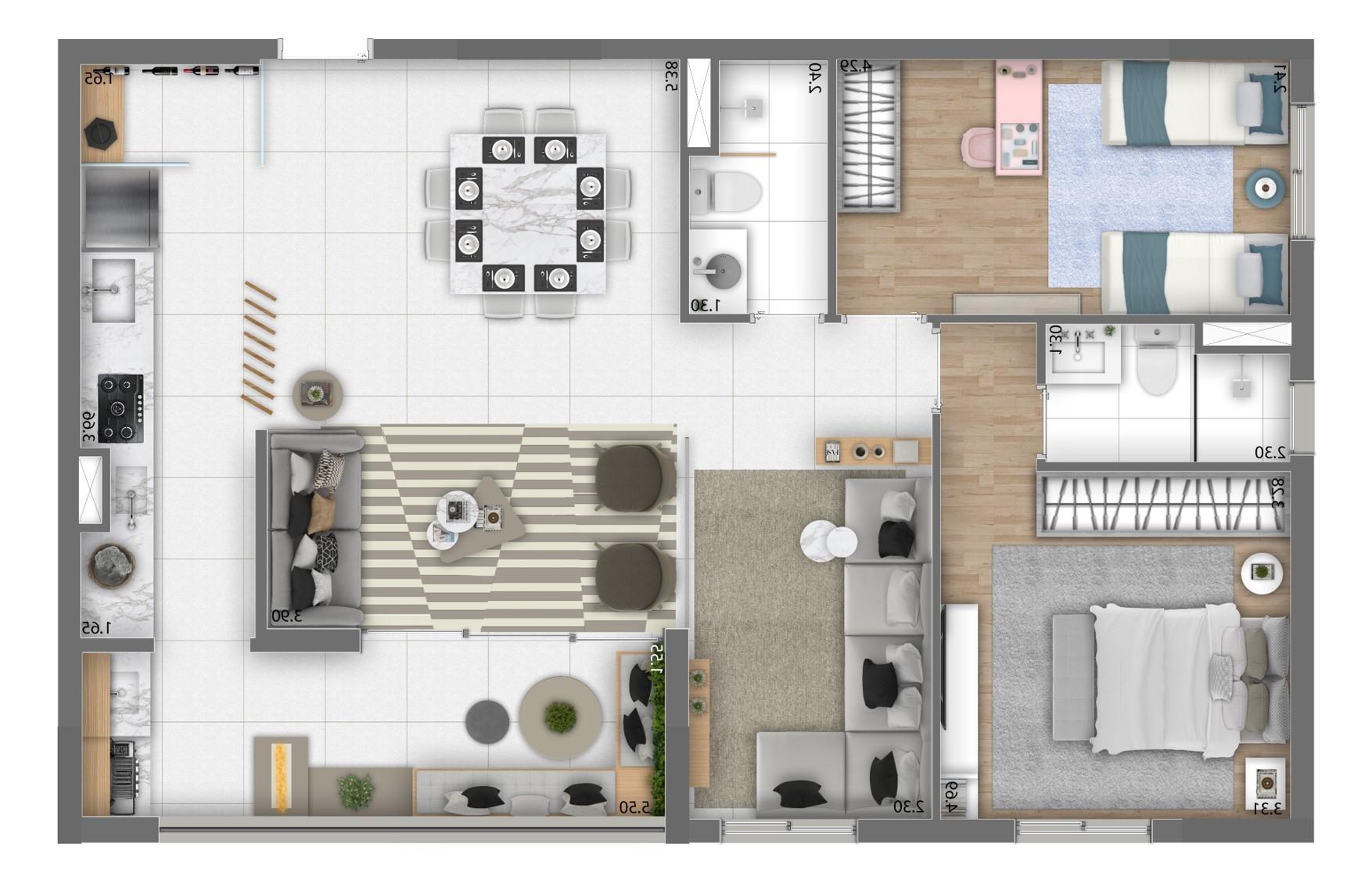 Planta 88m² - 2 Dorms. - Living Ampliado