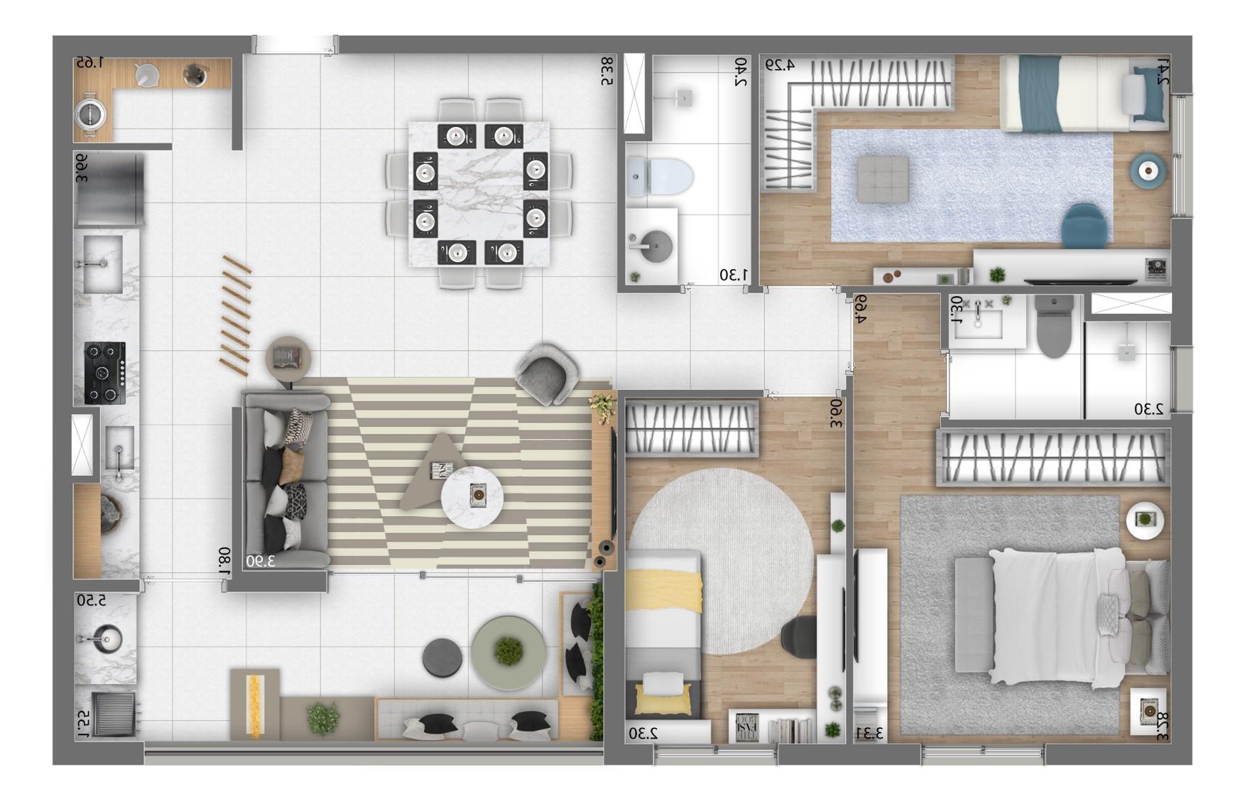 Planta 88m² - 3 Dorms. (1 Suíte)