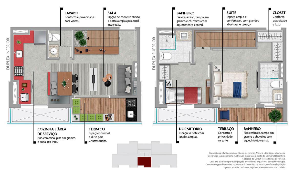 Planta 66m² - Duplex - 2 Suítes e Lavabo