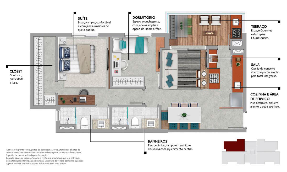 Planta 67m² - 2 Dorms. com Closet na Suíte