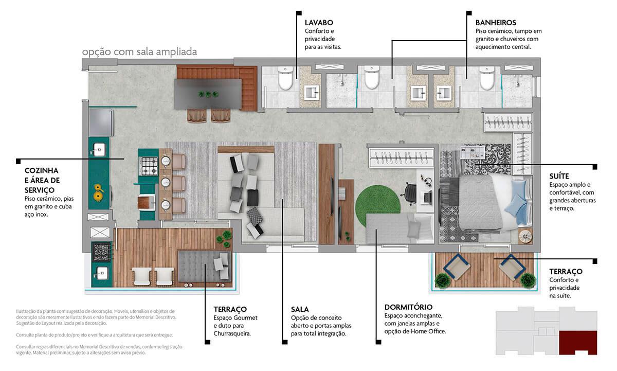 Planta 79m² - Opção Sala Ampliada