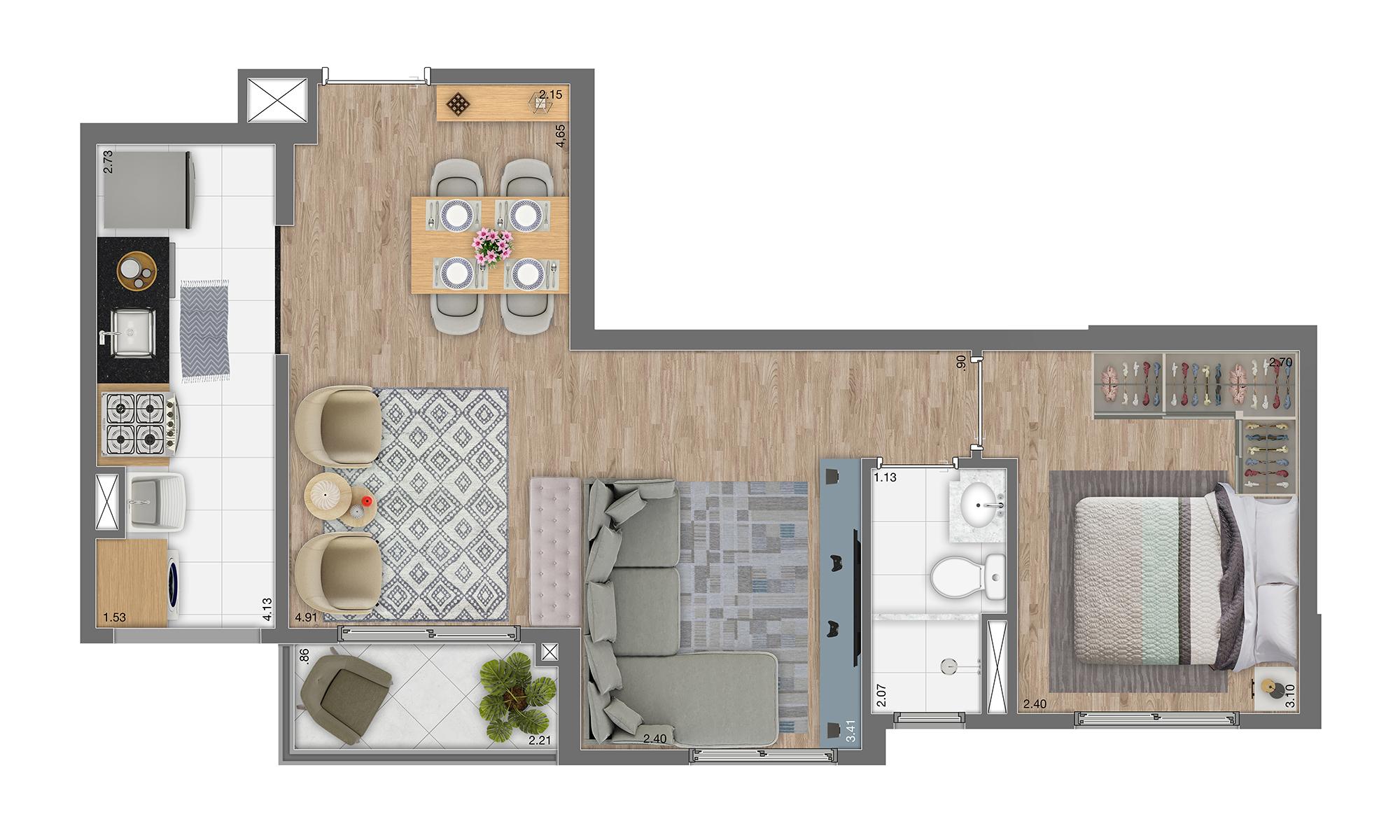 Planta 45m² - 1 Dorm. - Living Ampliado